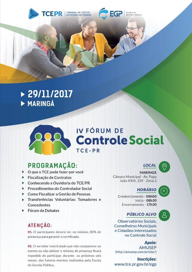 IV FÓRUM DE CONTROLE SOCIAL TCE PR