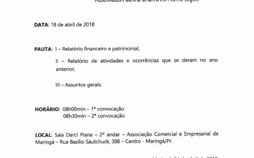 Convocação Assembleia Geral Ordinária SER/Observatório Social De Maringá