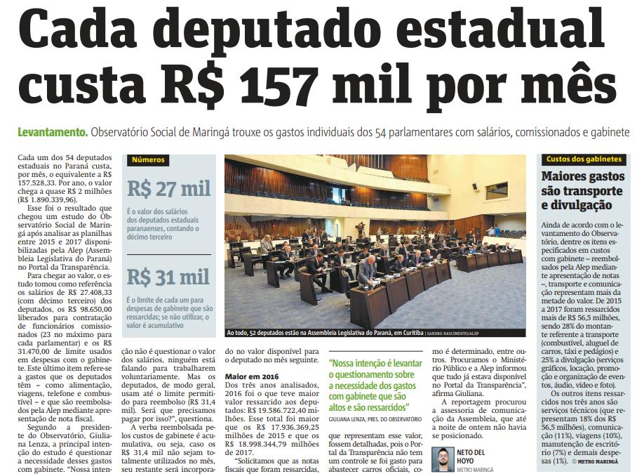 Cada Deputado Estadual Custa R$ 157 Mil Por Mês