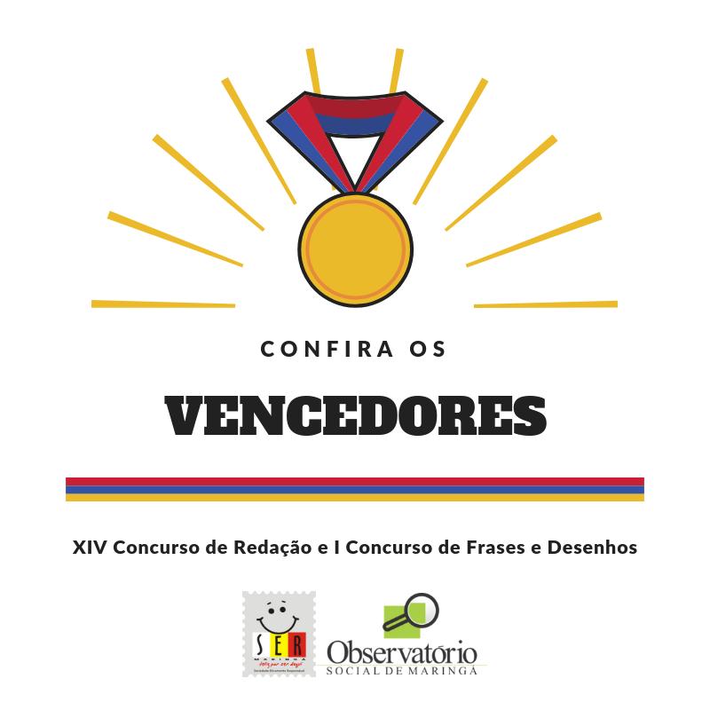 Vencedores XIV Concurso De Redação E I Concurso De Frases E Desenhos 2018
